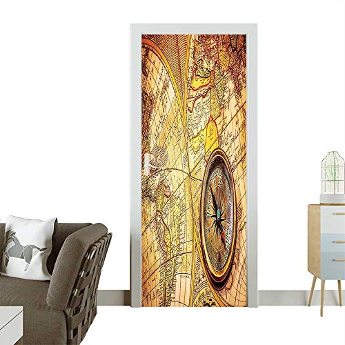 Homesonne Modern Art Door Sticker Compass On an Ancient World Map Historic Borders Century Old Antiquity Environmentally Friendly decorationW38.5 x H77 INCH