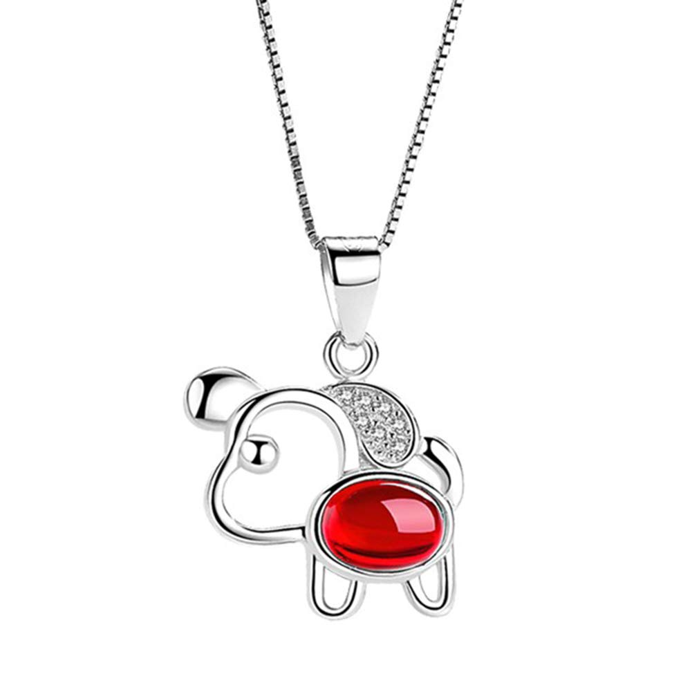 Onlyfo 925 Silver Ruby and Diamond Accent Filigree Dog Pendant Necklace with Jewelry Box,Short Dog Necklace for Women (Silver)