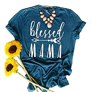 JINTING Blessed Mama Tee Shirt for Women Short Sleeve Letter Printed Graphic Mama Gifts Tee Shirts