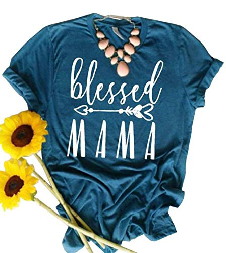 JINTING Blessed Mama Tee Shirt for Women Casual Short Sleeve Letter Print Cute Graphic Tee Shirt with Saying Blue
