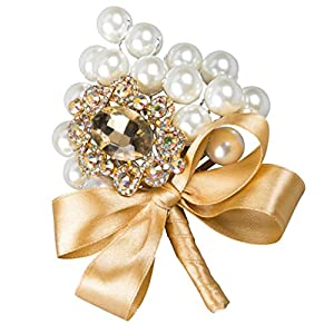 Fityle Artificial Rhinestone Pearl Silk Flower Boutonniere Bouquet Corsage Wedding Banquet Decor 77