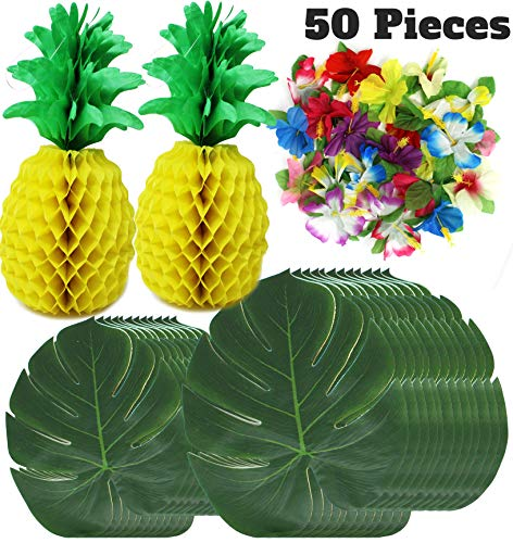 JOYIN 50 Pieces Luau Hawaiian Tropical Jungle Party Decoration Set Including 12 13-inch and 12 8-inch Tropical Palm Simulation Leaves, 24 Silk Hibiscus Flowers, and 2 13.5-inch Tissue Paper Pineapples