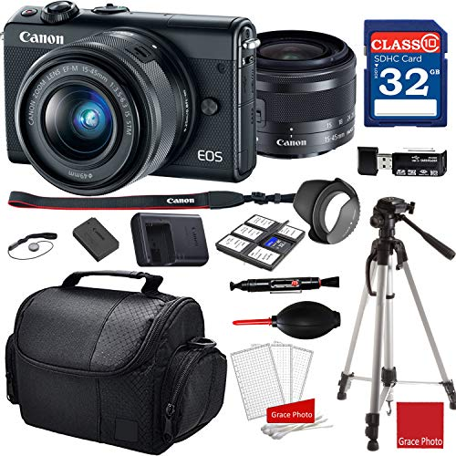Canon EOS M100 Mirrorless Digital Camera with 15-45mm Lens (Black)+ 32GB Memory Bundle (14pc)