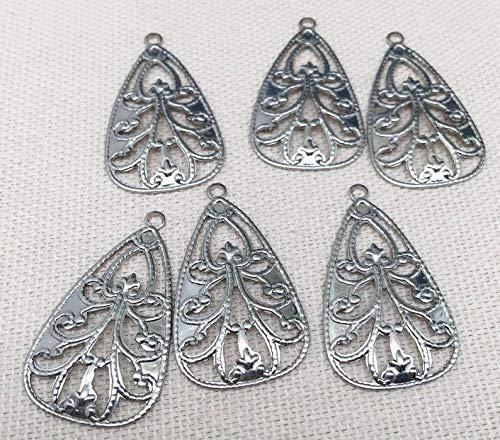 10 Silver Plated Filigree - 10 Vintage Fancy Silver Plated Filigree Metal Pendants 28mm