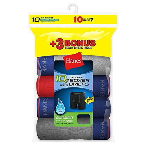 Hanes Boys' 10-Pack Exposed Waistband Sport Boxer Briefs - Assorted Solid Colors (S)