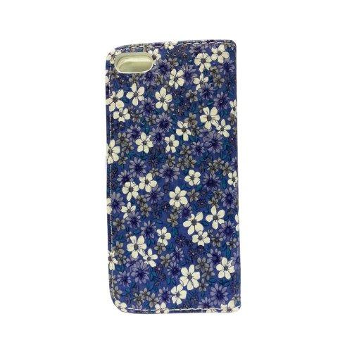 GADGET BOXX TEXTURE BLEU FONCE ET BLANC FLEUR CUIR LIVRE CASE FLIP STAND DE PROTECTION POUR APPLE IPHONE 5/5S