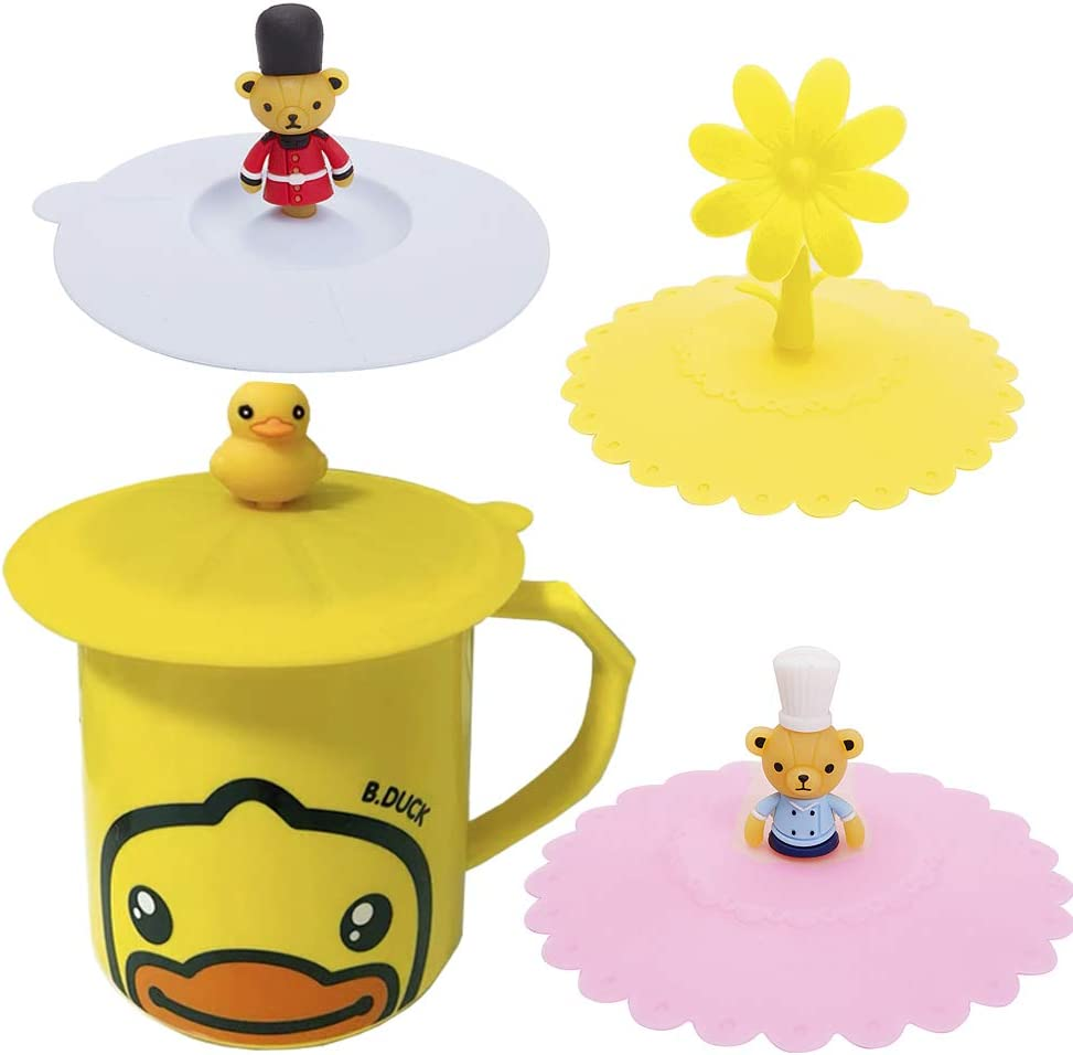 Papermore Silicone Cup Lids, Creative Animals/Plants Mug Cover Food Grade Reusable Tea Coffee Cup Lid,Anti-dust, Airtight Seal,4 Set Universal Silicone Drink Cup Lids (duck, flower & bears)