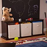 Premium Storage Bench - Seating Organizer Home Furniture Indoor Cubbies Shelves Toys Playtime Playrooms Boys Girls Kids Stackable Canvas Bins