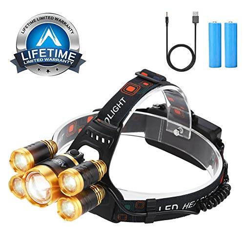 Rechargeable Headlamp Flashlight 12000 Lumen Brightest CREE LED USB Head Lamp, 4 Modes IPX4 Waterproof Zoomable Work Headlight Best Headlamps for Camping Hiking Outdoors Hard Hat