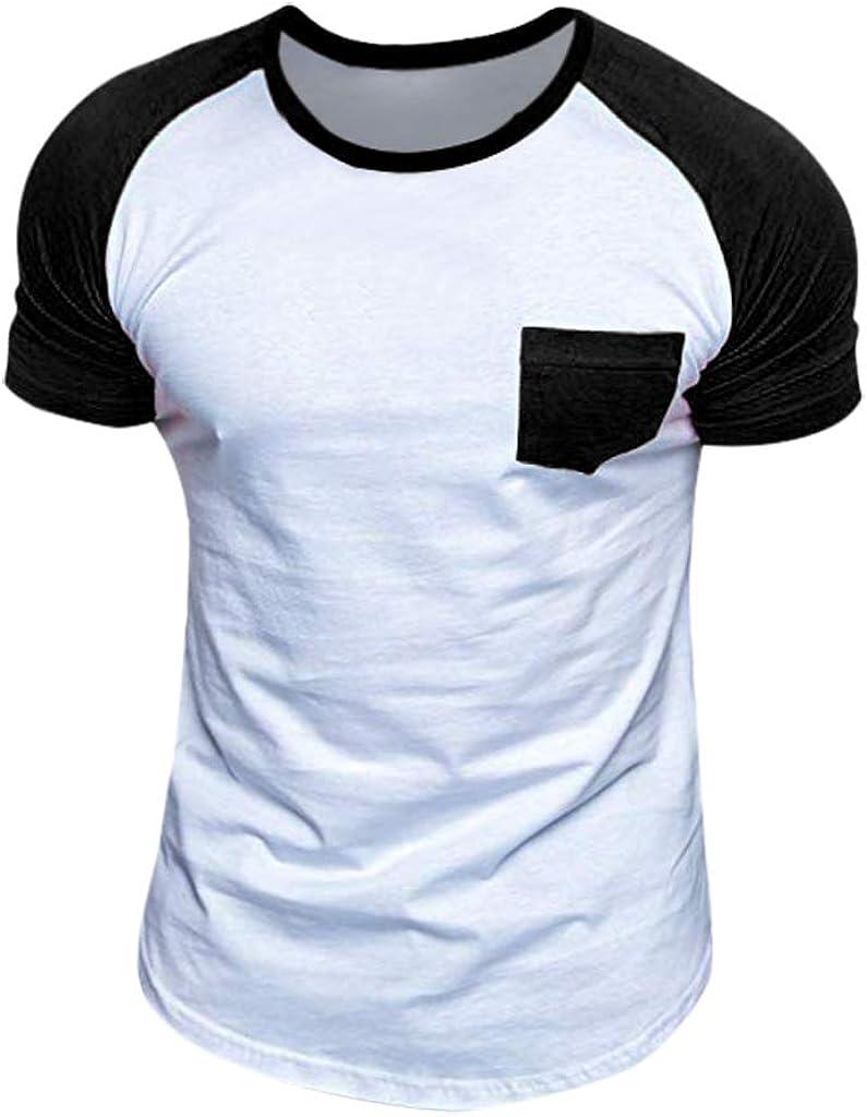T Shirts for Men,POTO Mens Short Sleeve Color Block T-Shirt Summer Casual Tops Tee Blouse Polo Shirts Henley Shirt