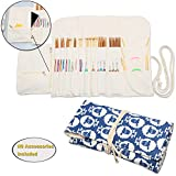 Teamoy Knitting Needles Holder Case(up to 11 Inches), Cotton Canvas Rolling Organizer for Straight and Circular Knitting Needles, Crochet Hooks and Accessories, Sheep --NO ACCESSORIES INCLUDED