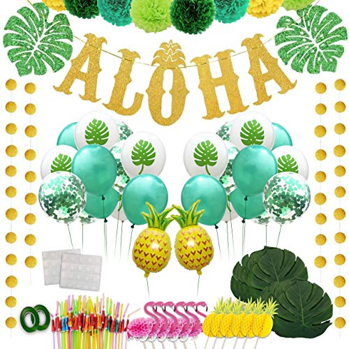 JUST PICK ME | Hawaiian Luau Party Decorations & Supplies Bundle | 75+ Pieces Including Aloha Banner Cake Toppers Pineapple Balloons Umbrella Straws for Tropical Luau Theme Summer Event Adults & Kid