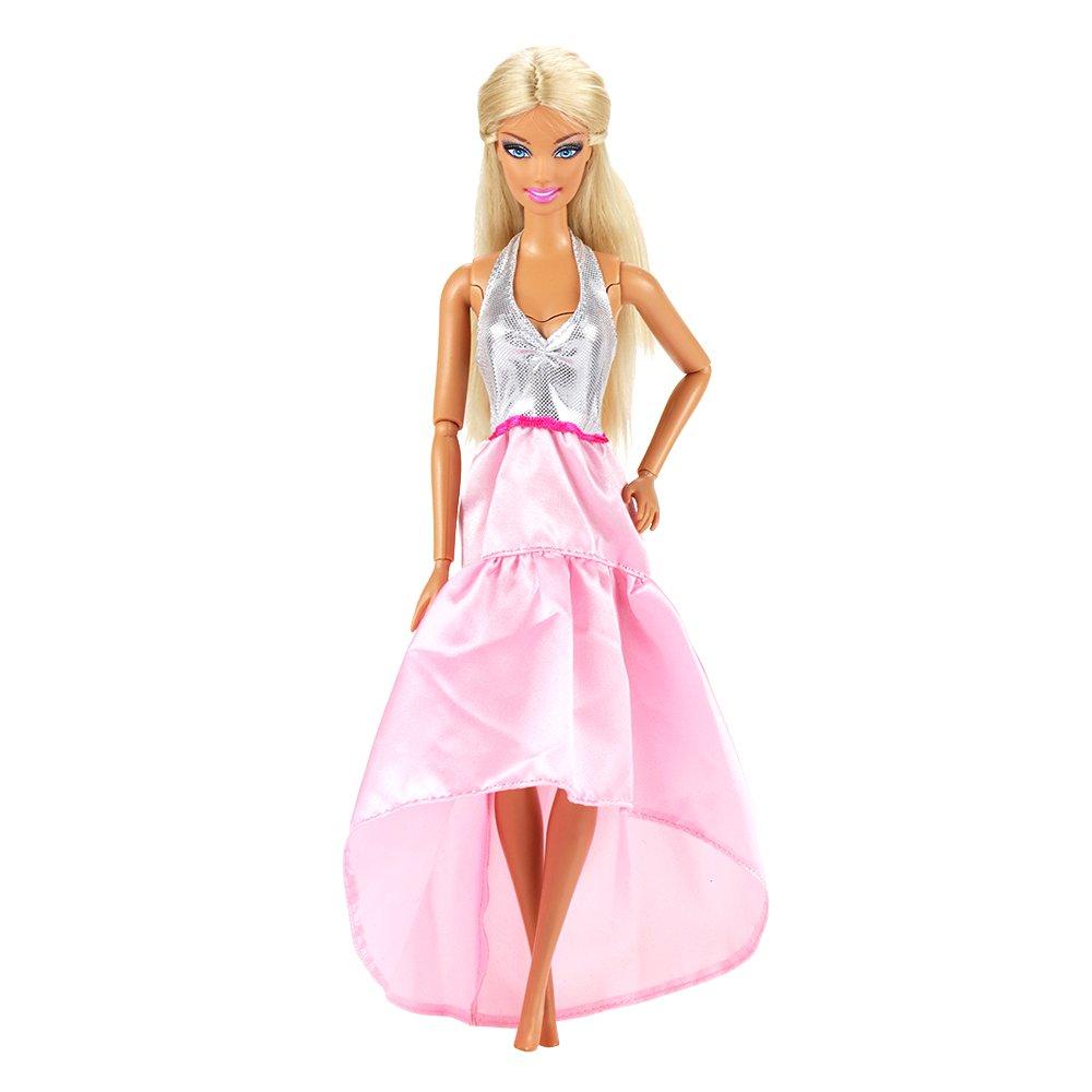 ad05b921e Muñecas fashion y accesorios Miunana mucho 15X articulos   5 X Vestidos  Estilo al Azar 10 Pares Zapatos para Barbie Muñeca gegalo Navidad