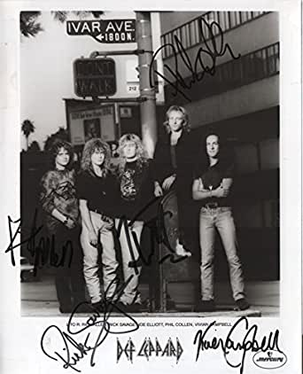 Def Leppard band RARE hand SIGNED Promo photo by all 5 JSA LOA Joe Elliott
