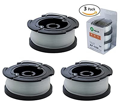 Garden NINJA Replacement Trimmer Spool Compatible with Black+Decker AF-100, 3-Spool with 1 Cap …