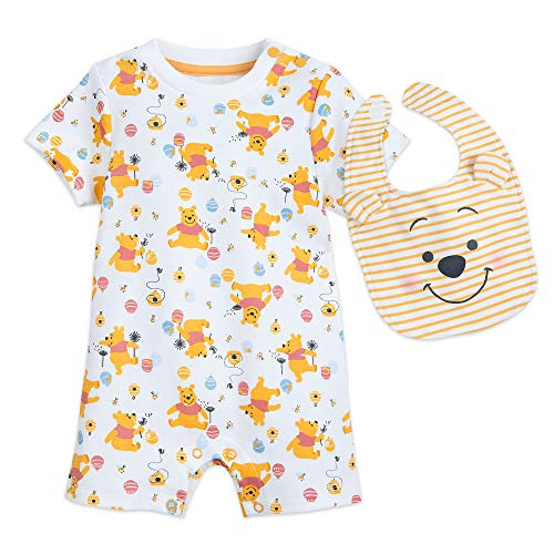 Winnie The Pooh Bodysuit - Disney Winnie The Pooh Romper and Bib Set for Baby Size 3-6 MO Multi