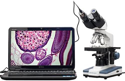 AmScope B120C-E1 Siedentopf Binocular Compound Microscope, 40X-2500X Magnification, LED Illumination, Abbe Condenser, Two-Layer Mechanical Stage, 1.3MP Camera and Software Windows XP/Vista/7/8/10