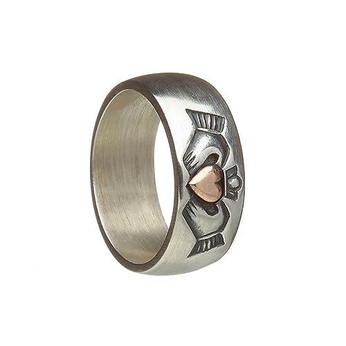 Celtic 8 mm estilo envejecido plata y oro rosa Claddagh irlandeses-anillo de bodas.