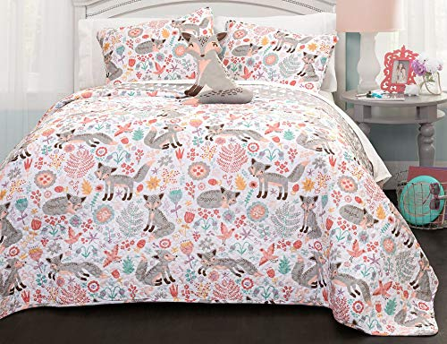 Lush Decor Pixie Fox Quilt Reversible 3 Piece Bedding Set - Gray/Pink - Twin Quilt Set Animals Toddler Bedding Sets