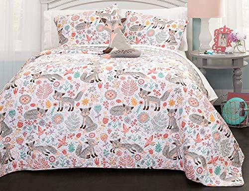 Lush Decor Pixie Fox Quilt Reversible 4 Piece Bedding Set – Gray/Pink – Full/Queen Quilt Set