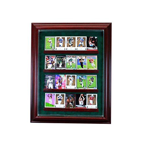 20 Trading Card Cabinet Style Display Case with Hinged Door and Suede Backing
