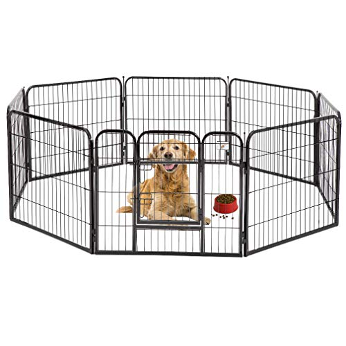BestPet Pet Playpen 8 Panel Indoor Outdoor Folding Metal Protable Puppy Exercise Pen Dog Fence,24
