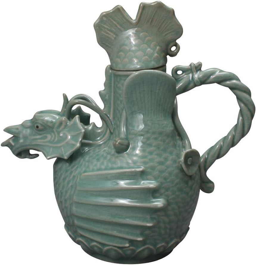 Korean Celadon Handmade Dragon Design Porcelain Pottery Ceramic Teapot Tea Pot Wine Sake Bottle Water Kettle Luxury Gift 515TlP9nCPLSL1000_