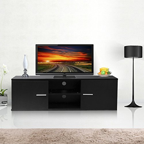 Wood TV Stand Storage Console, TV Component Bench, Econ Entertainment Center with Storage Bins, Black by Best and Affordable (Image #4)