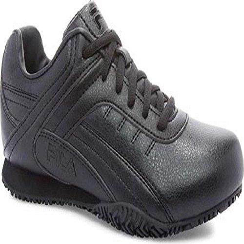 Fila Women's, Memory Elleray 5 Slip Resistant Work Sneaker Wide Width Black 9 W