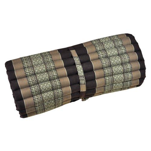 Thaimatte, Yogamatte, Rollmatte, braun, Blüten, 180 x 77 x 4,5 cm, Liegematte, Thaikissen als asiatische Rollmatratze