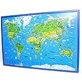 Kinderweltkarte auf Kork-Pinnwand: Deutsche Ausgabe