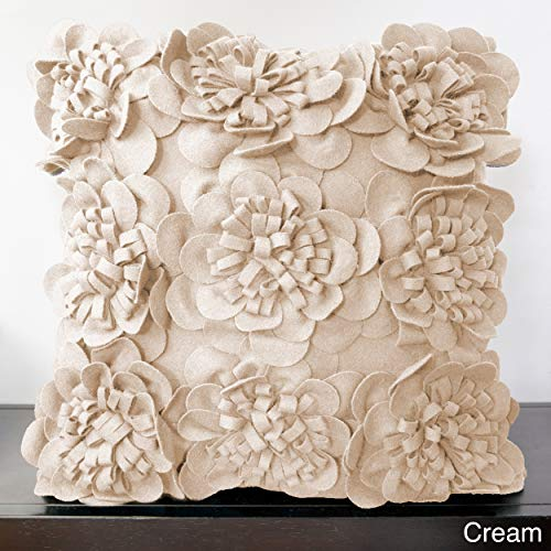 - PH Square Cream Wool Blend Flower Throw Pillow Beautiful Solid Vibrant Felt Bright Dark Ivory Color Girl Soft Garden Whimsical Design Decorative Plush Floral White Textured Accent Petal Down Filled