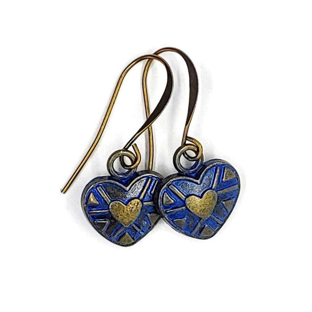 Casual Everyday Earrings in a Denim Blue Finish Brass Heart Earrings
