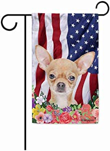 BAGEYOU American Flag with My Love Dog Chihuahua 4th of July Patriotic Decoraive Garden Flag for Outside Colorful Flowers Summer Home Decor Banner 12.5X18 Inch Printed Double Sided