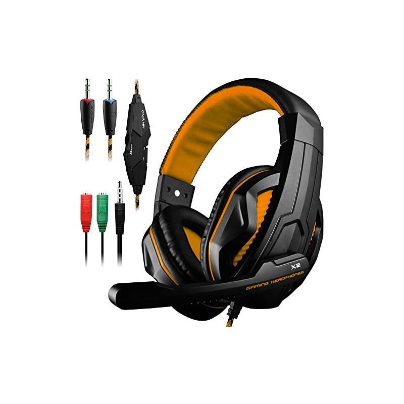 DLAND Gaming Headset, 3.5mm Wired Bass Stereo Noise Isolation Gaming Headphones with Mic for Laptop Computer, Cellphone, PS4 and so on- Volume Control (Black and Orange)