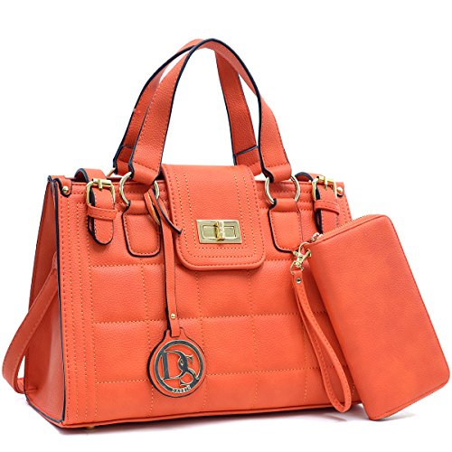 dasein-womens-structured-designer-satchel-handbag-work-bag-shoulder-bag-with-matching-wallet-orange-
