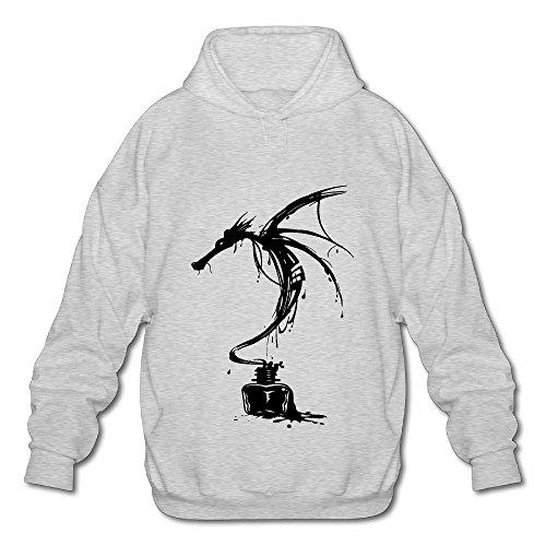 TOMM Men's Ink Dragon Hooded Sweatshirt With No Pocket Ash - Falkor Dragon