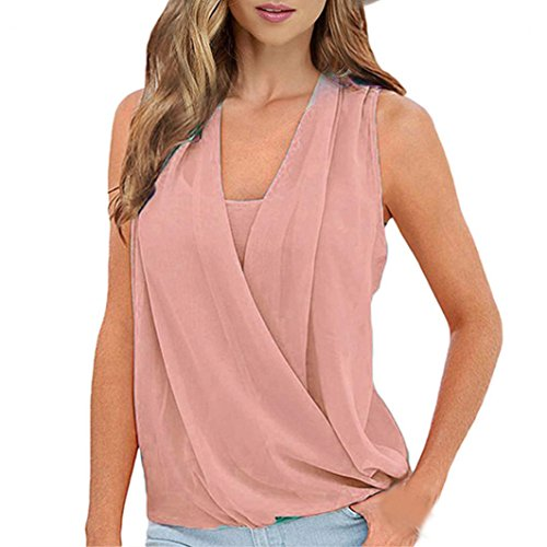TOPUNDER Solid Top Chiffon Sleeveless Vest Blouse Casual Tank Loose Tops T-Shirt for Women -