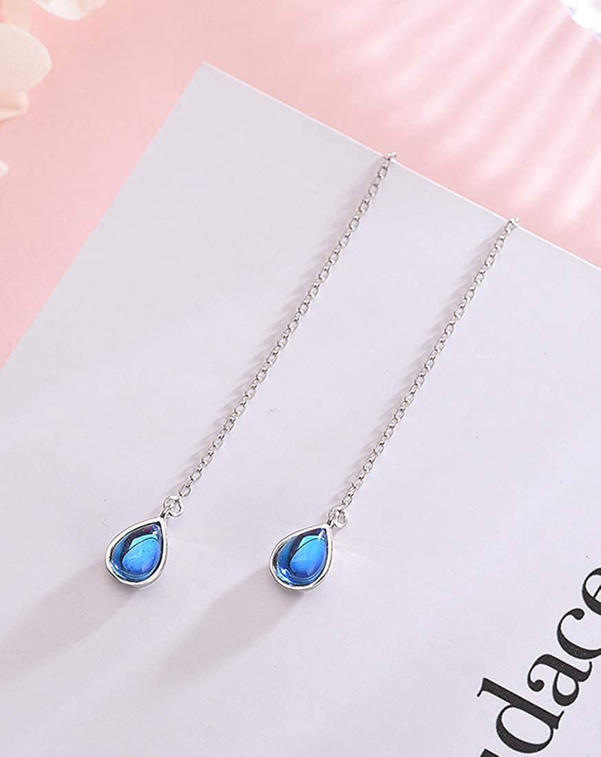 FarryDream 925 Sterling Silver Blue Crystal Droplet Dangle Earrings for Women Teen Girls Slender Threader Earrings