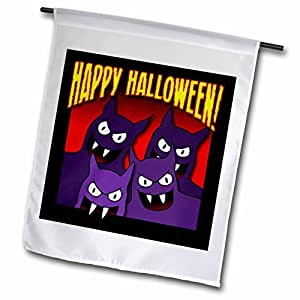Mark Grace HALLOWEEN hungry vampires - HUNGRY VAMPIRES happy halloween 1 on black with gradient - 18 x 27 inch Garden Flag (fl_54713_2)