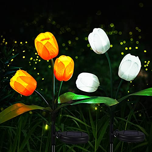 Tulip Solar Flower Lights 2PK, Neporal Solar Lights Outdoor Decorative, Dusk to Dawn Auto Working Solar Garden Decorations Waterproof Lights for Garden, Yard