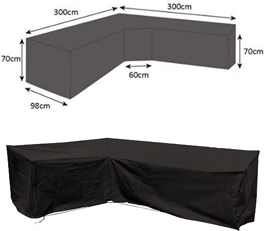 dDanke Funda para sofá grande en forma de L impermeable para todo tipo de clima, poliéster negro, para patio, jardín, exterior (300 x 300 x 98 x 70 cm): Amazon.es: Hogar