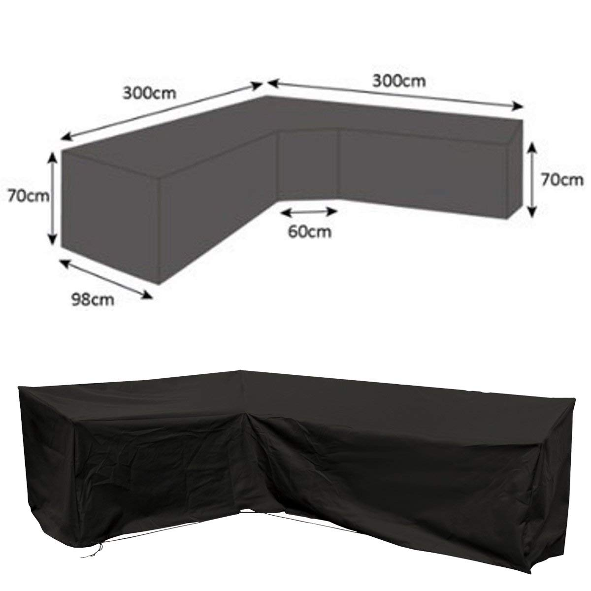 dDanke Black Universal L Shape Sofa Covers for Left Hand Waterproof & Dustproof Furniture Outdoor Outside Cover, 118.11'' x 118.11'' x 38.58'' x 27.56''