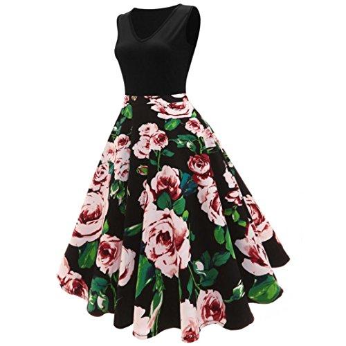 Amlaiworld Damen herbst Rose drucken Mini Kleid mädchen Ärmellos Hochzeit abendkleider elegant eng blumen Kleider party Frühling Cocktailkleid Schwarz