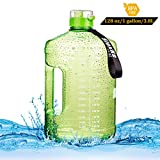SIuxKe 1 Gallon(128 Ounce) Big Water Bottle with Daily Time Marker| Reusable Leak-Proof | Clear BPA-Free Water Jug for Outdoor Camping Hiking