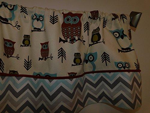 Mist Curtain - Cute Owls village blue, rust, natural , grey, mist blue valance curtain , baby Nursery , child window home decor. Rust pipping. woodland animal