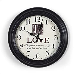 Adeco CK0094 14~15 Black & Off White Antique Look Dial Decorative Retro Vintage Traditional Wall Hanging Circle Iron Clock, Arabic Numerals Numbers, Silent Battery Quartz, Home Office Decor, Black