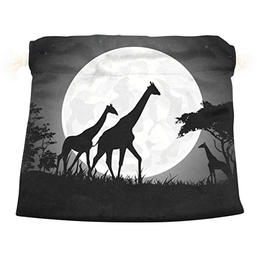 Dragon Sword Giraffe Family With Giant Moon Gift Bags Jewelry Drawstring Pouches for Wedding Party, 5.5x5.5 Inch by Dragon Sword
