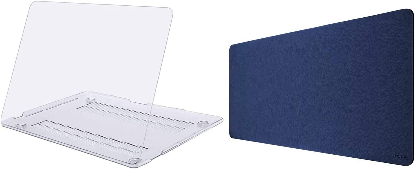 MOSISO MacBook Pro 13 inch Case 2020-2016 Release A2289 A2251 A2159 A1989 A1706 A1708, Plastic Hard Shell Case & Office Desk Pad Water Repellent PU Leather Dual Side Laptop Desk Mat Writing Pad