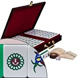Chinese Mahjong Game Set with Case, Tiles, and Accessories, The Standard ''Emerald'' Set